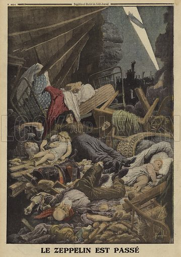 Family killed in a bombing raid by a German Zeppelin, World War I,1916. Le Zeppelin est passe. Illustration from Le Petit Journal, 13 February 1916.