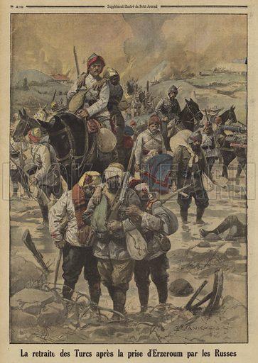 Turkish soldiers retreating after the capture of Erzurum by the Russians, World War I, 1916. La retraite des Turcs apres la prise d'Erzeroum par les Russes. Illustration from Le Petit Journal, 27 February 1916.