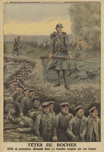 Column of German prisoners marched along a trench captured by the French, World War I, 1916. Tetes de Boches. Defile de prisonniers Allemands dans une tranchee conquise par nos troupes. Illustration from Le Petit Journal, 5 March 1916.