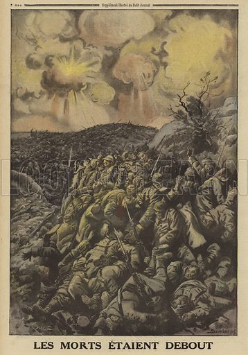 Huge numbers of dead German soldiers at Vachereauville, France, Battle of Verdun, World War I, 1916. Les morts etaient debout. Illustration from Le Petit Journal, 19 March 1916.