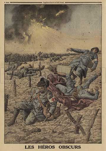 Heroism of French battlefield medics, World War I, 1916. Les heros obscurs. Illustration from Le Petit Journal, 26 March 1916.