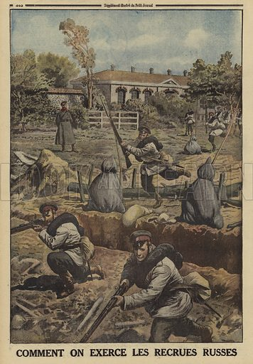 Russian army recruits undergoing training, World War I, !916. Comment on exerce les recrues Russes. Illustration from Le Petit Journal, 30 April 1916.