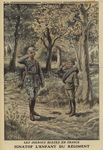 Russian boy soldier in France, exchanging salutes with a French soldier, World War I, 1916. Les soldats Russes en France. Ignatof, l'enfant du regiment. Illustration from Le Petit Journal, 21 May 1916.