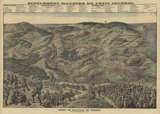 Panoramic view of the battlefield of Verdun, France, World War I, 1916. Champ de Bataille de Verdun. Vue panormaique. Illustration from Le Petit Journal, 4 June 1916.