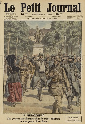 French prisoners captured by the Germans saluting a young Alsatian girl in Strasbourg, World War I, 1916. A Strasbourg. Des prisonniers Francais font le salut militaire a une jeune Alsacienne. Illustration from Le Petit Journal, 9 July 1916.