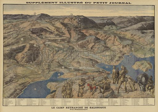 Panoramic view of the entrenched Allied encampment at Salonika, Greece, World War I, 1916. Le camp retranchee a Salonique. Vue panoramique. Illustration from Le Petit Journal, 9 July 1916.