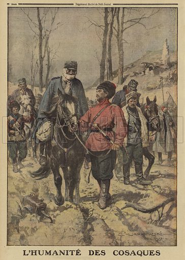 Russian Cossacks treating Austrian prisoners taken in Galicia during the Brusilov Offensive with compassion, World War I, 1916. L'humanite des cosaques. Illustration from Le Petit Journal, 23 July 1916.