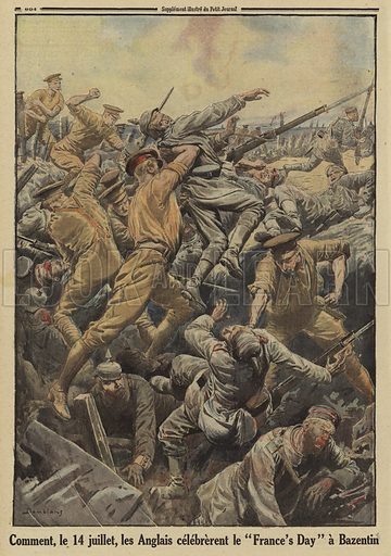 "British soldiers in hand to hand combat with Germans on Bastille Day (14 July), Bazentin, France, Battle of the Somme, World War I, 1916. Comment, le 14 Juilletm les Anglais celebrerent le ""France's Day"" a Bazentin. Illustration from Le Petit Journal, 6 August 1916."