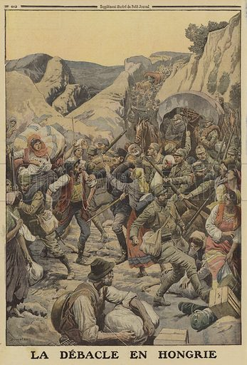 Panic on the roads in Hungary at the news of the advance of the Russians in the Brusilov Offensive, World War I, 1916. La debacle en Hongrie. Illustration from Le Petit Journal, 13 August 1916.