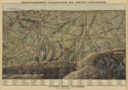 Panoramic view of the sector of the Western Front between Arras and La Bassee, France, World War I, 1916. Le front Arras-La Bassee. Vue panoramique. Illustration from Le Petit Journal, 20 August 1916.