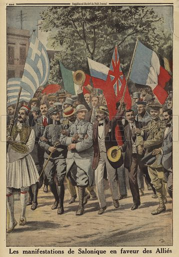 Demonstrations of support for the Allies on the streets of Salonika, Greece, World War I, 1916. Les manifestations de Salonique en faveur des Allies. Illustration from Le Petit Journal, 24 September 1916.