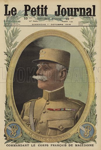 General Victor Cordonnier, commander of the French army on the Macedonian Front, World War I, 1916. Le General Cordonnier, commandant le corps Francais de Macedoine. Illustration from Le Petit Journal, 1 October 1916.