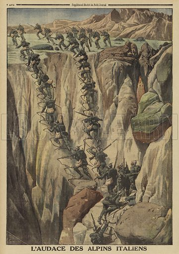 Audacious Italian mountain troops climbing a steep rock face on Monte Cauriol in order to attack an Austrian position, World War I, 1916. Illustration from Le Petit Journal, 8 October, 1916.