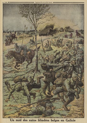 Belgian armoured cars in the service of General Brusilov's Russian army attacking German troops in Galicia, World War I, 1916. Un raid des autos blindes Belges en Galicie. Illustration from Le Petit Journal, 29 October 1916.