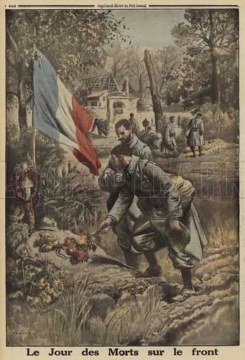 French soldiers remembering their dead comrades at the front on All Saints Day, World War I, 1916. Le Jour des Morts sur le front. Illustration from Le Petit Journal, 5 November 1916.
