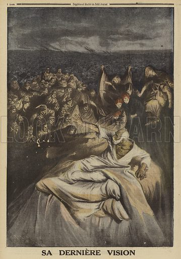 His last vision: Emperor Franz Joseph I of Austria on his deathbed, confronted by the dead of the war he began, World War I, 1916. Sa derniere vision. Illustration from Le Petit Journal, 10 December 1916.