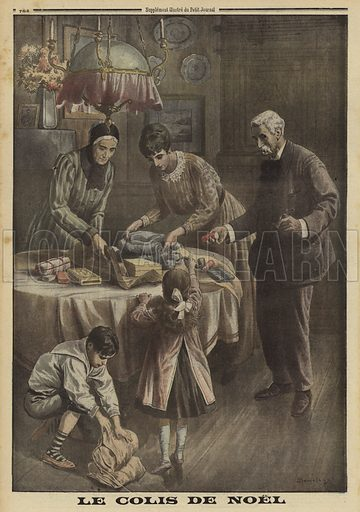 French family preparing a Christmas parcel for a soldier at the front, World War I, 1916. Le colis de Noel. Illustration from Le Petit Journal, 24 December 1916.