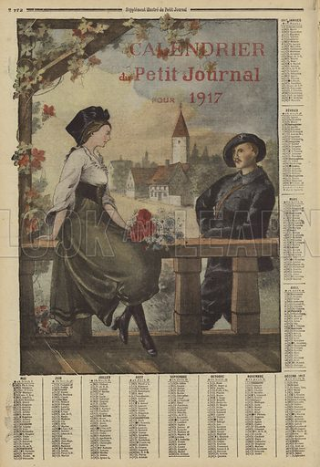Calendar for 1917. Calendrier du Petit Journal pour 1917. Illustration from Le Petit Journal, 31 December 1916.