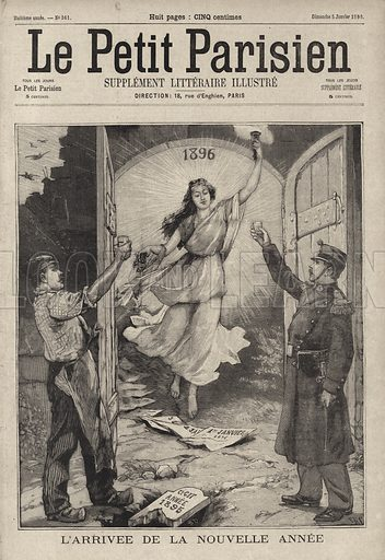French worker and soldier welcoming the arrival of the New Year. Illustration from Le Petit Parisien, 5 January 1896.