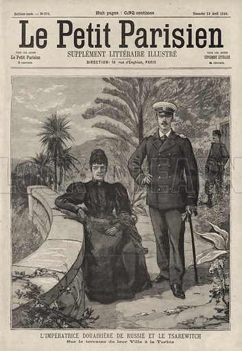 Dowager Empress Maria Feodorovna of Russia and her son, Tsar Nicholas II, on the terrace of their villa at La Turbie, France. L'Imperatrice Douairiere de Russie et le Tsarewitch sur la terrasse de leur villa a La Turbie. Illustration from Le Petit Parisien, 12 April 1896.