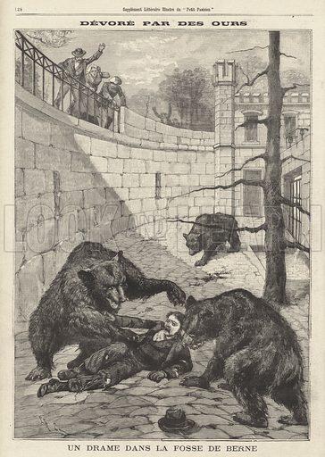 Man devoured by bears after falling into their pit, the Barengraben, in Bern, Switzerland. Devore par des ours. Un drame dans la fosse de Berne. Illustration from Le Petit Parisien, 19 April 1896.