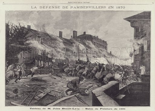 The Defence of Rambervillers in 1870, painting by Jules Benoit-Levy depicting a scene from the Franco-Prussian War. La Defense de Rambervillers en 1870. Tableau de M Jules Benoit-Levy - Salon de Peinture de 1896. Illustration from Le Petit Parisien, 1896.