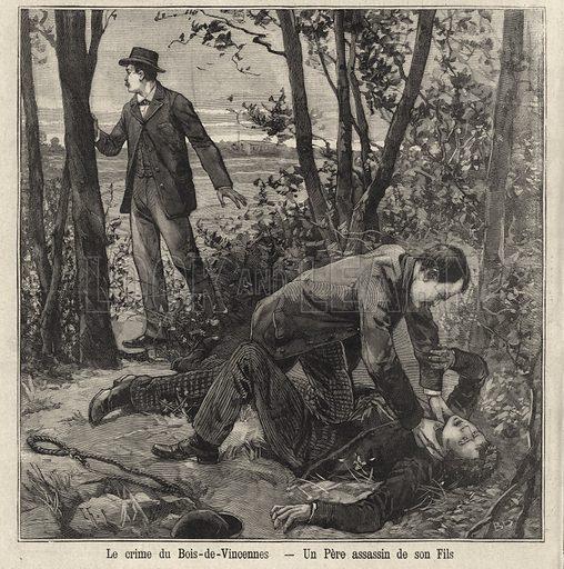 A father murdering his son in the Bois de Vincennes, Paris. Illustration from Le Petit Parisien, 10 May 1896.