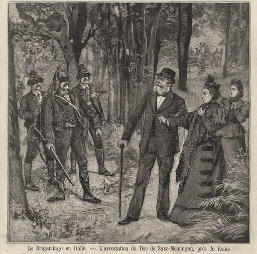 Duke and Duchess of Saxe-Meiningen robbed at gunpoint by bandits, near Rome, Italy. Le brigandage en Italie - l'arrestation du Duc de Saxe-Meiningen, pres de Rome. Illustration from Le Petit Parisien, 17 May 1896.