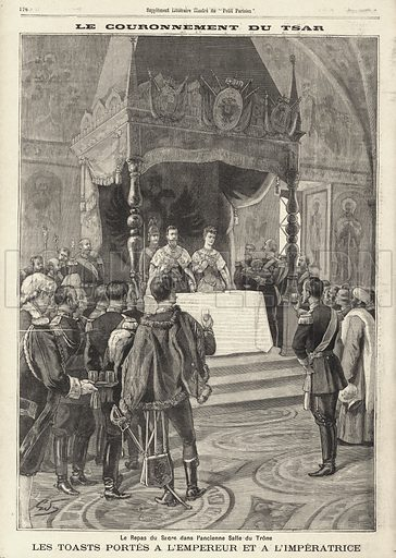 Coronation of Tsar Nicholas II of Russia: toasts to the Tsar and Tsarina at the Coronation dinner in the Andreevsky throne room at the Palace of Facets, Moscow, 1896. Le couronnement du Tsar. Les toasts portes a l'empereur et a l'imperatrice. Illustration from Le Petit Parisien, 31 May 1896.