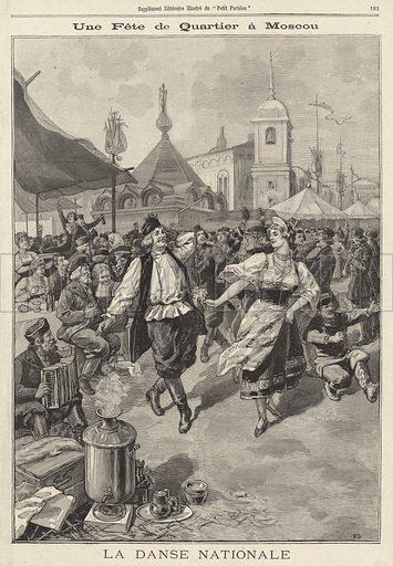 Russian people dancing in celebration of the coronation of Tsar Nicholas II and Tsarina Alexandra, Moscow, 1896. Une fete de quartier a Moscou. La danse nationale. Illustration from Le Petit Parisien, 7 June 1896.