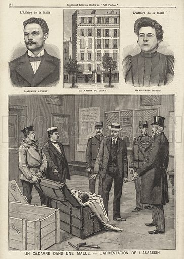 Case of a dead body found in a trunk, France, 1896. A criminal called Aubert killed a man for his valuable stamp collection and then concealed the body in a trunk left in the baggage room of a railway station. He and his mistress, Marguerite Dubois, were caught by the police when they returned to the station later to move the trunk, the contents of which had been revealed after the decomposing body began to smell. Un cadavre dans une malle - l'arrestation de l'assassin. Illustration from Le Petit Parisien, 7 June 1896.