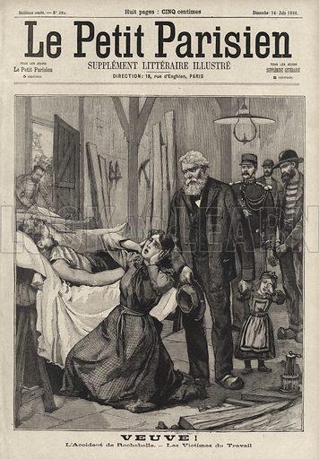 Grief of a woman widowed by the Fontanes mining disaster, France, 1896. Veuve! L'accident de Rochebelle - les victimes du travail. Illustration from Le Petit Parisien, 14 June 1896.