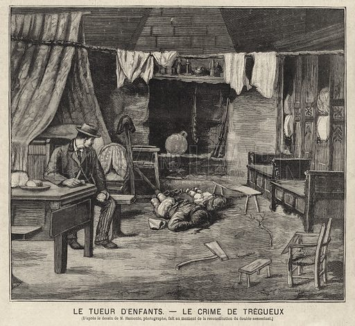 Scene of the murder of two children in Tregueux, France, 1895. Illustration from Le Petit Parisien, 14 June 1896.