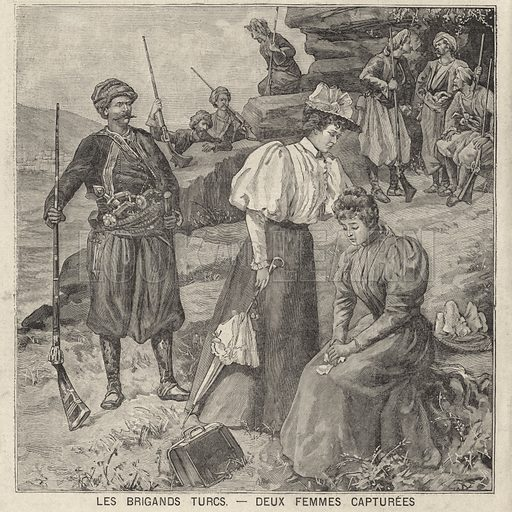 Kidnapping of two women by bandits in Turkey. Le brigands Turcs - deux femmes capturees. Illustration from Le Petit Parisien, 28 June 1896.