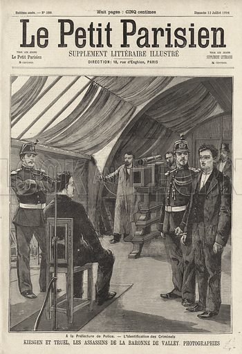Kiesgen and Truel, murderers of the elderly Baronne de Valley in her home on the Rue de Penthievre, Paris, being photographed by the police. Kiesgen et Truel, les assassins de la Baronne de Valley, photograpies. Illustration from Le Petit Parisien, 12 July 1896.