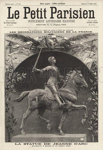 Statue of Joan of Arc unveiled at Reims, France on 15 July 1896. La statue de Jeanne d'Arc, inauguree a Reims le 15 Juillet 1896. Illustration from Le Petit Parisien, 19 July 1896.