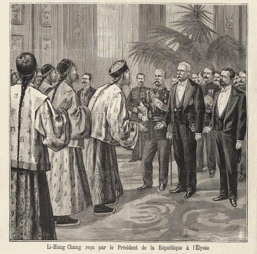 Li-Hung Chang recu par le President de la Republique a l'Elysee. Illustration from Le Petit Parisien, 19 July 1896.