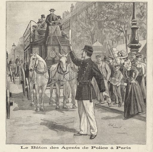 French policeman using his baton to direct traffic on the streets of Paris. Le baton des agents de police a Paris. Illustration from Le Petit Parisien, 2 August 1896.