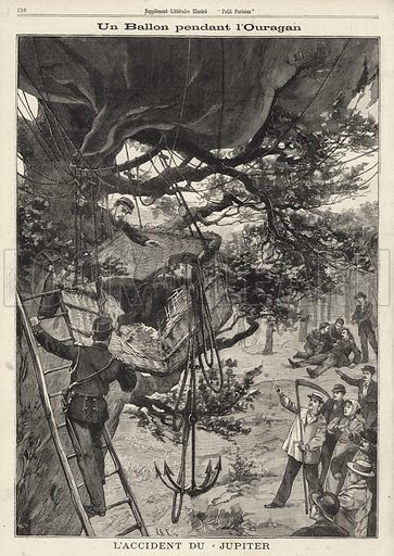 The balloon Jupiter, crashed into the branches of a tree by during a storm, near Paris, France, 1896. Un ballon pendant l'ouragan. L'accident du Jupiter. Illustration from Le Petit Parisien, 9 August 1896.