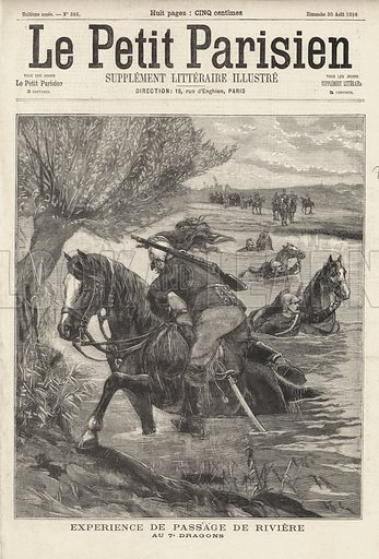 French soldiers of the 7th Dragoons swimming across a river with their horses. Experience de passage de riviere au 7e Dragons. Illustration from Le Petit Parisien, 30 August 1896.