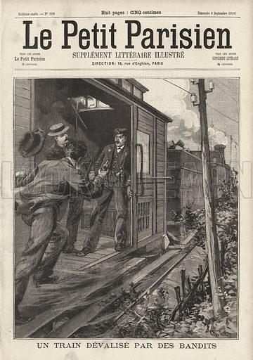 Audacious train robbery near Vierzon, France, 1896. Un train devalise par des bandits. Illustration from Le Petit Parisien, 6 September 1896.
