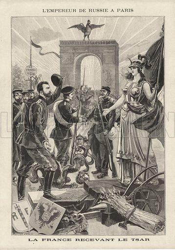 Visit of Tsar Nicholas II of Russia to Paris, 1896. L'Empereur de Russie a Paris. La France recevant le Tsar. Illustration from Le Petit Parisien, 27 September 1896.
