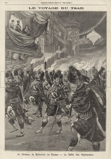 Tsar Nicholas II and Tsarina Alexandra of Russia, with Queen Victoria, watching a torchlit dance by Highlanders at Balmoral Castle during their visit to Britain, 1896. Illustration from Le Petit Parisien, 4 October 1896.