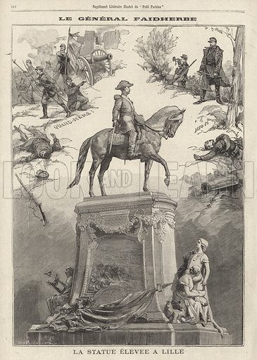 Statue of French general and colonial governor Louis Faidherbe erected at Lille, 1896. Illustration from Le Petit Parisien, 25 October 1896.