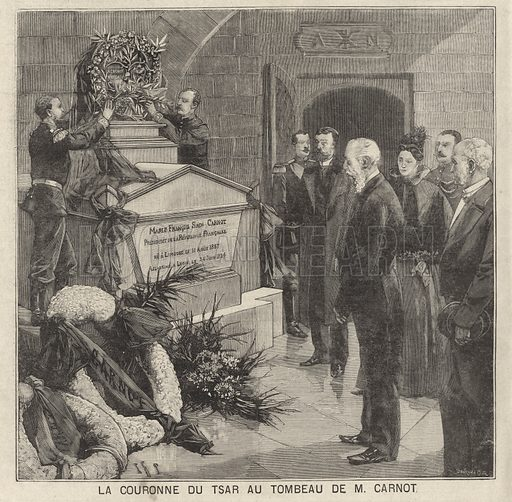 Tsar Nicholas II of Russia laying a crown on the tomb of assassinated French President Sadi Carnot, one of the architects of the Franco-Russian alliance, during his visit to France, 1896. La couronne du Tsar au tombeau de M Carnot. Illustration from Le Petit Parisien, 15 November 1896.