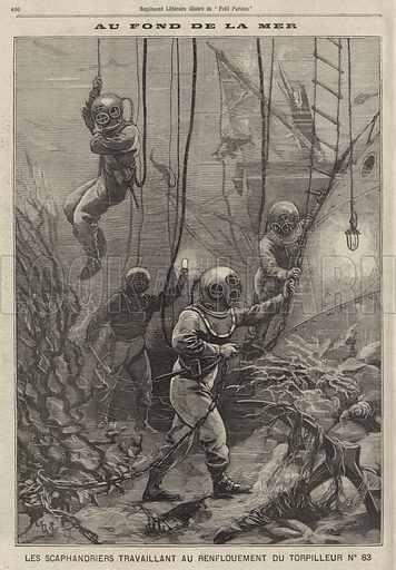 French divers working on the sea bed to recover the wreck of torpedo boat No 83 after it sank following a collision with another torpedo boat in the Bay of Douarnenez, Brittany, 1896. Au fond de la mer. Les scaphandiers travaillant au renflouement du torpilleur no 83. Illustration from Le Petit Parisien, 13 December 1896.