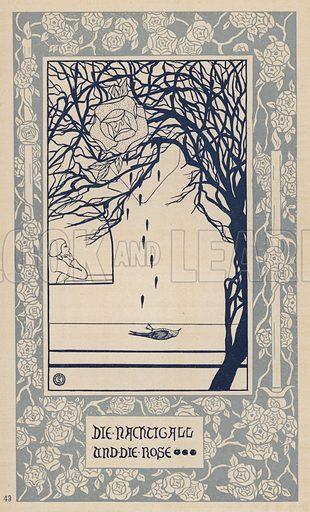 The Nightingale and the Rose. Illustration from Ein Leben in Schonheit, Oskar Wilde Kalender fur das Jahr 1908 (Hermann Seemann Nachf, Berlin and Leipzig, 1907).