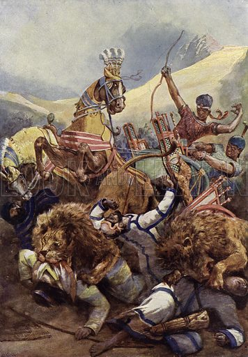 Rameses the Great of Egypt fighting the Hittites at the Battle of Kadesh, 1274 BC. Illustration from Panorama der Weltgeschichte, by M Reymond (Internationaler Weltverlag, Berlin, c1905).