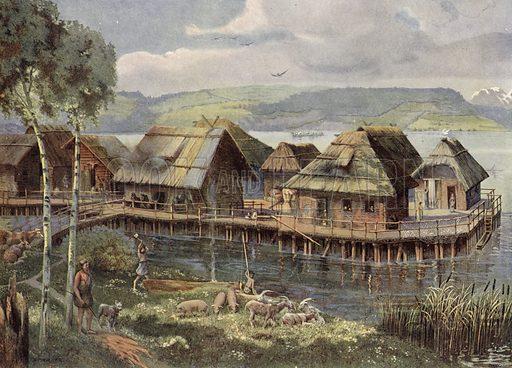 Prehistoric European lake village. Illustration from Panorama der Weltgeschichte, by M Reymond (Internationaler Weltverlag, Berlin, c1905).