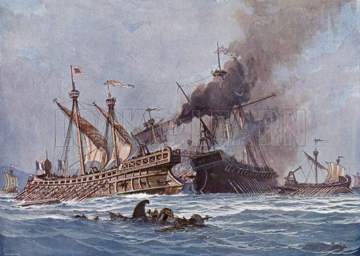 Battle of Actium, 31 BC. Illustration from Panorama der Weltgeschichte, by M Reymond (Internationaler Weltverlag, Berlin, c1905).